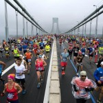 Runners cross the Verrazano-Narrows Bridge during the New York City Marathon on Sunday, Nov. 5, 2017, in New York. (ANSA/AP Photo/Craig Ruttle)
